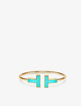 TIFFANY & CO: Tiffany T turquoise and 18ct yellow-gold wire bracelet
