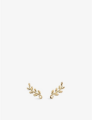 TIFFANY & CO: Paloma Picasso Olive Leaf 18ct gold climber earrings