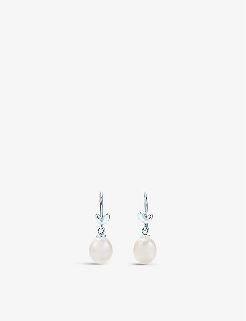 TIFFANY & CO: Olive Leaf freshwater pearl and sterling-silver drop earrings