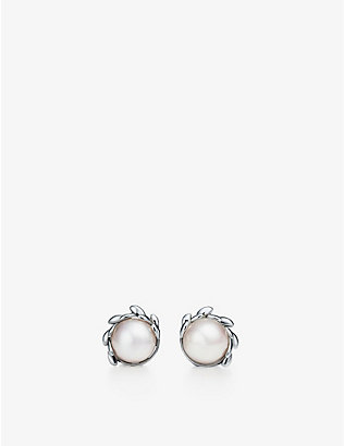 TIFFANY & CO: Paloma Picasso Olive Leaf sterling silver pearl earrings