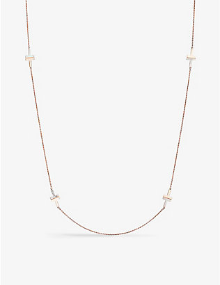 TIFFANY & CO: Tiffany T mother-of-pearl and 18ct rose-gold station necklace