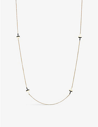 TIFFANY & CO: Tiffany T onyx and 18ct yellow-gold station necklace