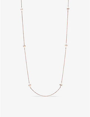 TIFFANY & CO: Tiffany T 18ct rose-gold, 0.67ct diamond and mother-of-pearl station necklace