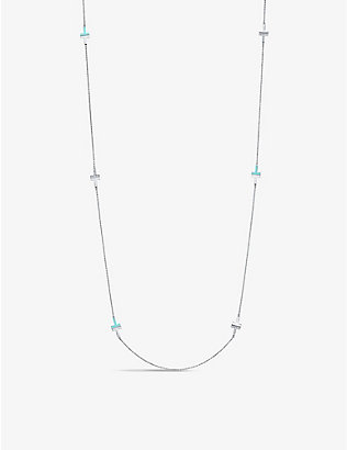 TIFFANY & CO: Tiffany T diamond, turquoise and 18ct white-gold station necklace