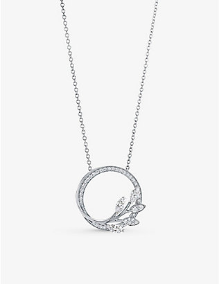 TIFFANY & CO: Vine Circle small platinum and 0.39ct brilliant- and marquise-cut diamond pendant necklace