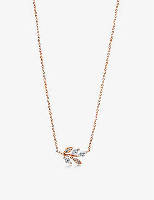 TIFFANY & CO: Vine 18ct rose-gold and 0.31ct brilliant- and marquise-cut diamond pendant necklace