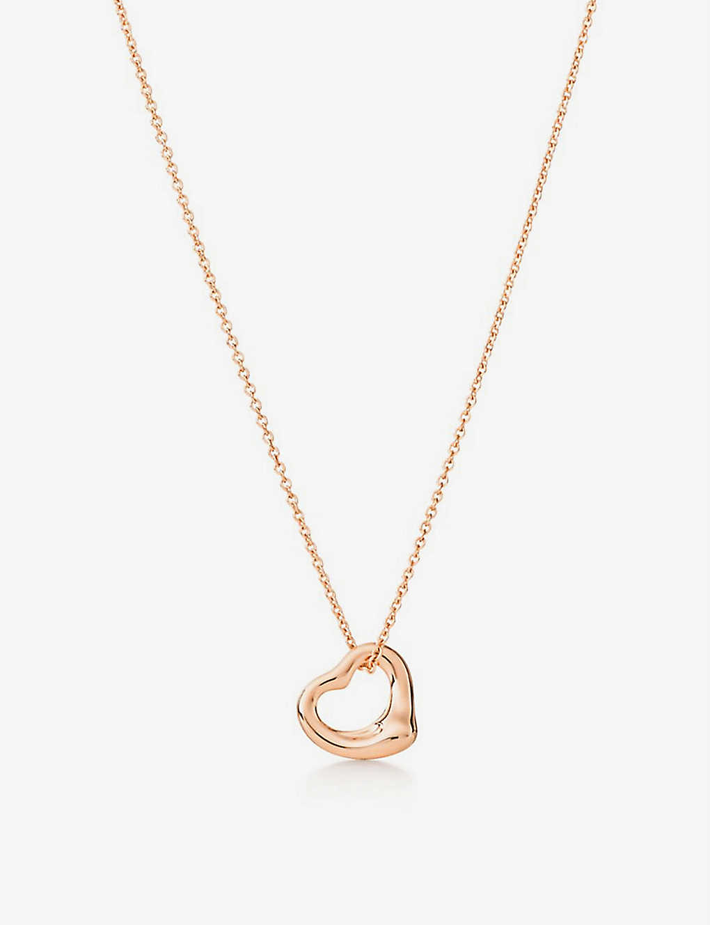 Tiffany Co Elsa Peretti Open Heart Rose Gold Pendant Selfridges Com
