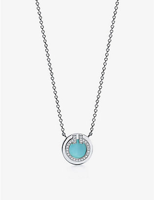 TIFFANY & CO: Tiffany T Two Circle 18ct white-gold, diamond and turquoise pendant necklace