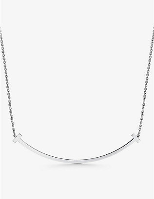 TIFFANY & CO: Tiffany T Smile extra-large 18ct white-gold necklace