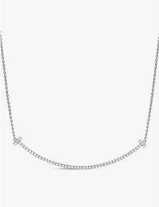 TIFFANY & CO: Tiffany T Smile extra-large diamond and 18ct white-gold necklace