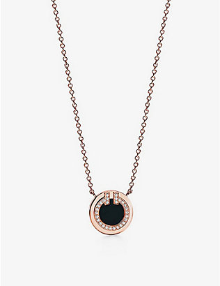 TIFFANY & CO: Tiffany T Two Circle 18ct rose-gold, diamond and black onyx pendant necklace