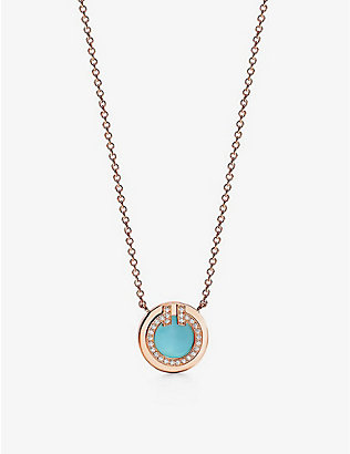 TIFFANY & CO: Circle small 18ct rose-gold, 0.03ct brilliant-cut diamonds and turquoise pendant necklace