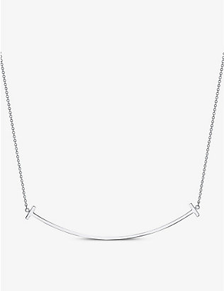TIFFANY & CO: Tiffany T Smile large 18ct white-gold necklace
