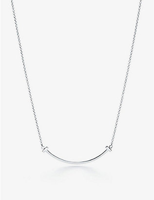 TIFFANY & CO: Smile small 18ct white-gold pendant necklace