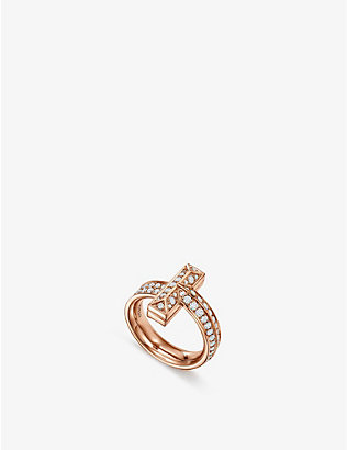 TIFFANY & CO: T1 Wide 18ct rose-gold and 0.54ct brilliant-cut diamond ring