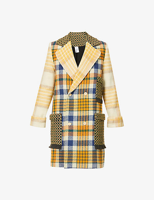 BETHANY WILLIAMS: Upcycled double-breasted checked cotton-blend coat