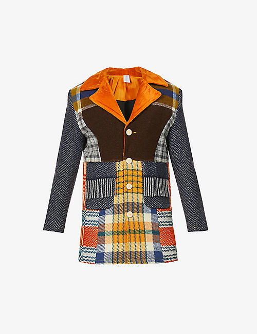 BETHANY WILLIAMS: Upcycled checked wool-cotton blend coat