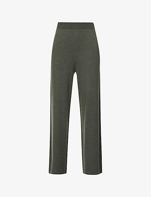 GESTUZ: Amira wide-leg high-rise wool trousers