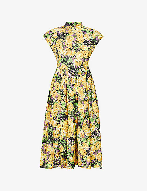GESTUZ: Cassia floral-print organic cotton midi dress