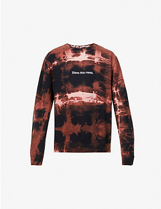 FAMT: Bless This Mess tie-dye cotton-blend jersey sweatshirt