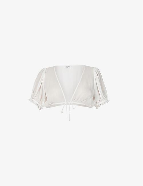 WEWOREWHAT: Puff-sleeve woven top