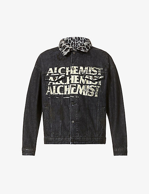 ALCHEMIST: Too Young To Die fleece-collar denim jacket