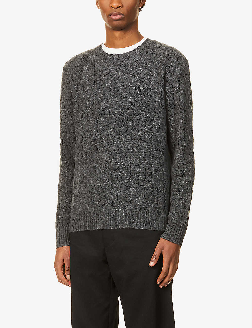 POLO RALPH LAUREN: Logo-embroidered cable-knit wool and cashmere-blend jumper