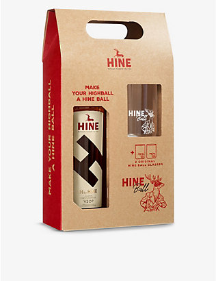 COGNAC: H By Hine VSOP cognac with glasses set 700ml