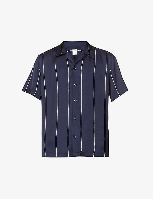 SANDRO: Stripe-print regular-fit woven shirt