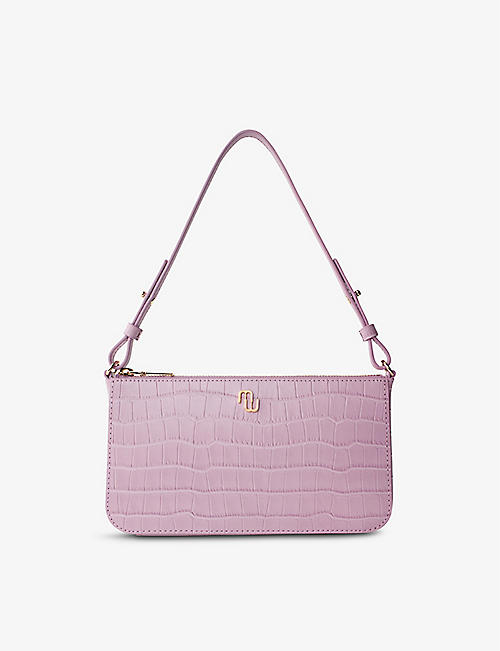 MAJE: Logo-plaque croc-embossed leather shoulder bag