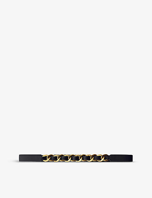 MAJE: Chain-embellished leather belt