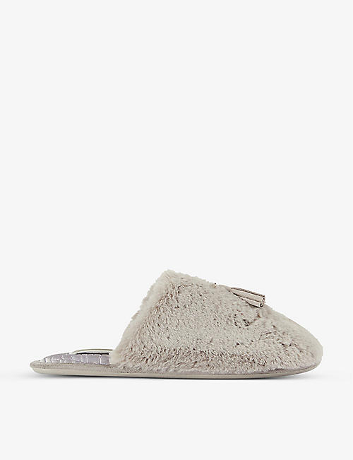TED BAKER: Tassel-embellished faux-fur slippers