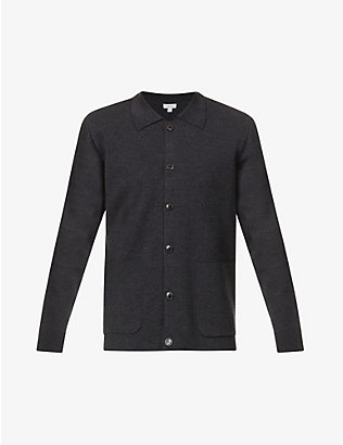 SUNSPEL: Spread collar merino wool Harrington jacket