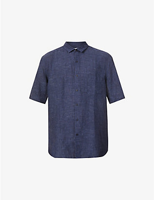 SUNSPEL: Short-sleeved slim-fit linen shirt