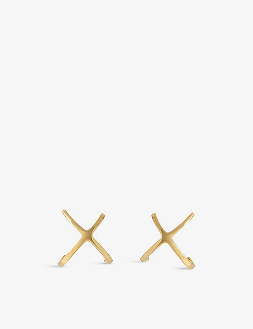 THE ALKEMISTRY: Aria cross 18ct yellow-gold stud earrings