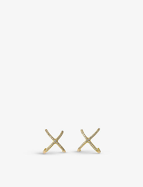 THE ALKEMISTRY: Aria cross diamond and 18ct yellow-gold stud earrings