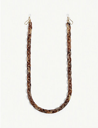 LELE SADOUGHI: Tortoise shell-print resin sunglasses chain