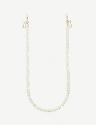 LELE SADOUGHI: Pearl 14ct gold-plated and faux-pearl glasses chain
