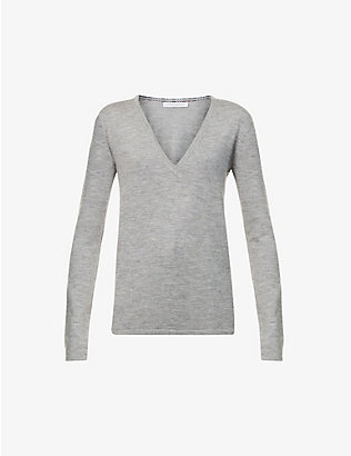 GABRIELA HEARST: Marian V-neck recycled-cashmere and recycled-silk blend jumper