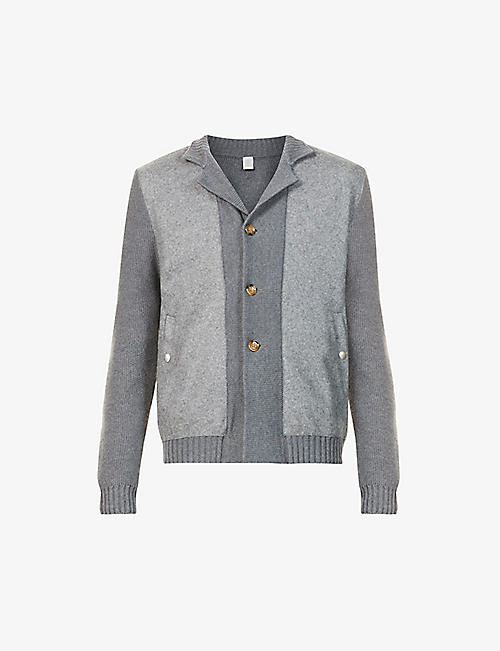 ELEVENTY: Contrast-sleeve collared wool cardigan
