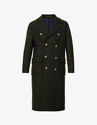 ELEVENTY: Double-breasted houndstooth-pattern woven coat