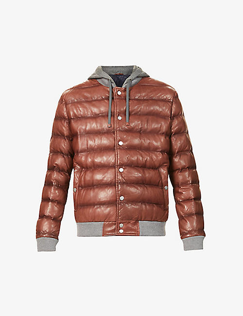 ELEVENTY: Quilted hooded leather jacket