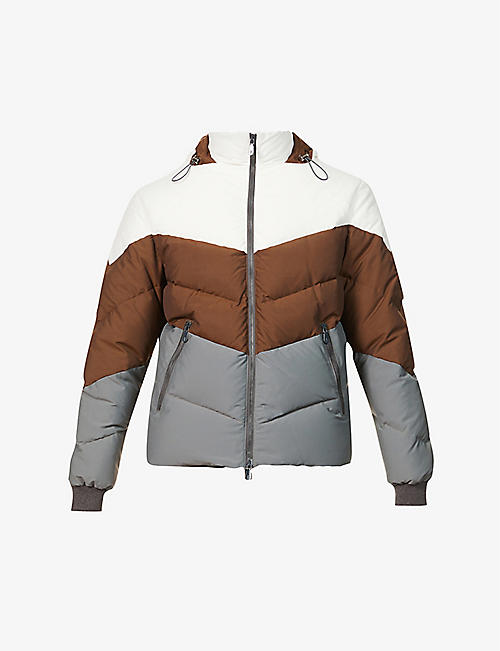ELEVENTY: Funnel-neck quilted wool-blend jacket