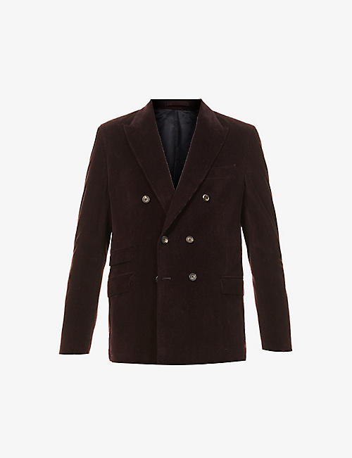 ELEVENTY: Double-breasted cotton- and cashmere-blend corduroy blazer