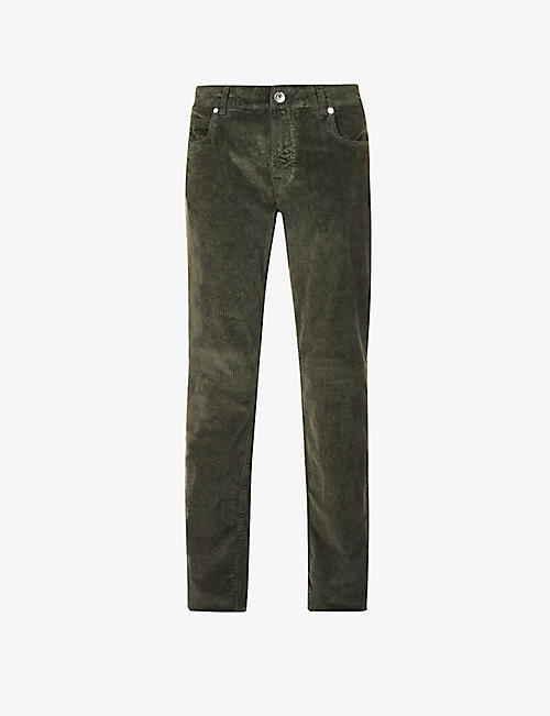 ELEVENTY: Slim-fit stretch-cotton and modal-blend corduroy trousers