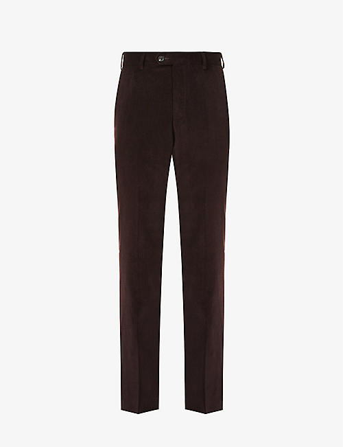 ELEVENTY: Regular-fit slim cotton and cashmere-blend corduroy trousers