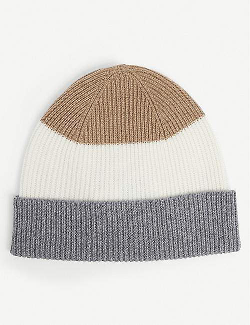 ELEVENTY: Striped knitted cashmere beanie hat