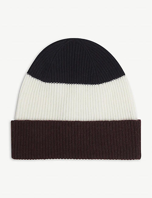ELEVENTY: Striped knitted cashmere beanie