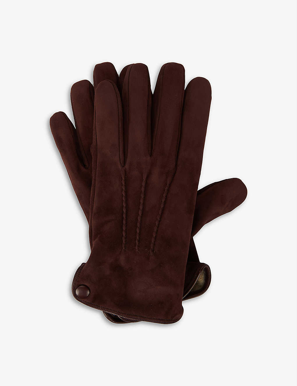 ELEVENTY: Suede triple point-stitched gloves