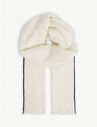 ELEVENTY: Striped-trim fringed-hem cashmere scarf